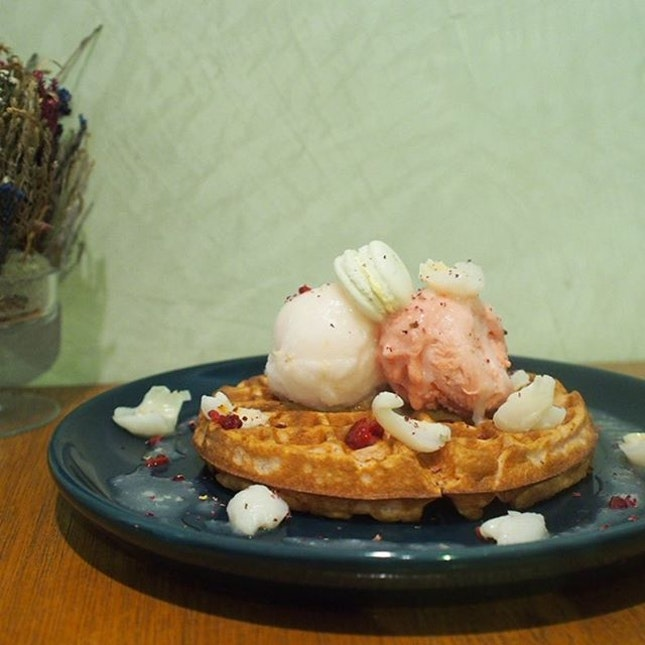 Waffle Ispahan ($15.90) - Rose waffle, single scoop of lychee-rose sorbert and raspberry sorbert.