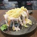 Tried Cream cheese Mentaiko salmon maki ($16.90+ for 8pcs) and salmon aburi don ($14.90+).