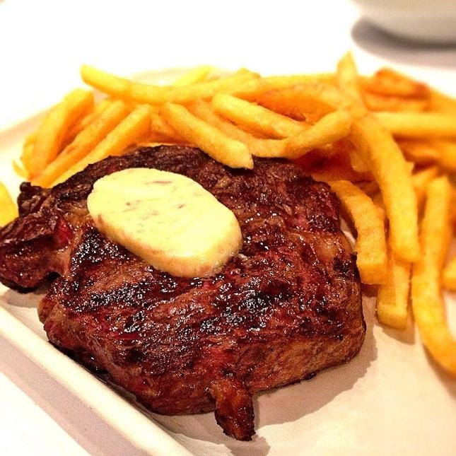 Rib eye steak frites.