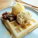 Moffle With Double Scoop Ice Cream
