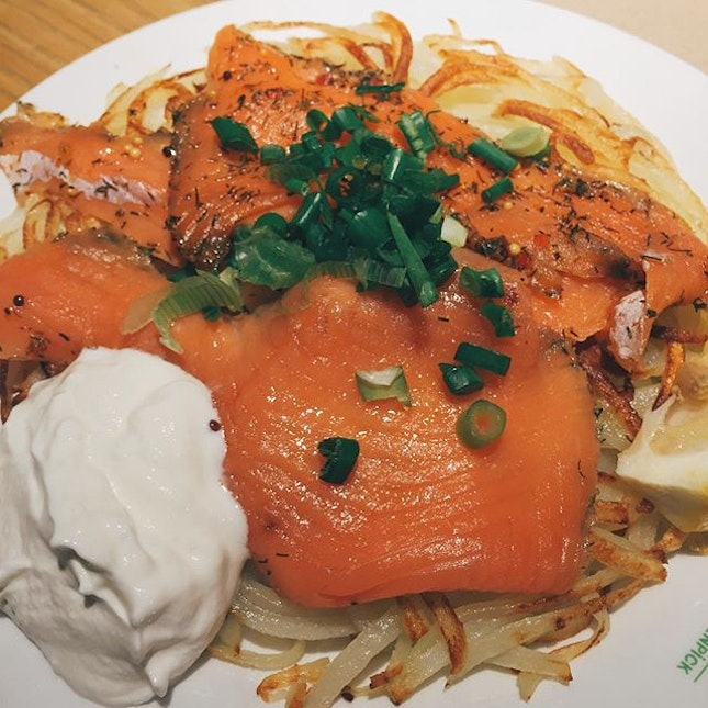 Rosti with smoked salmon  Marche is known for their amazing potato rosti and I have to agree on that...no, I MUST AGREE.