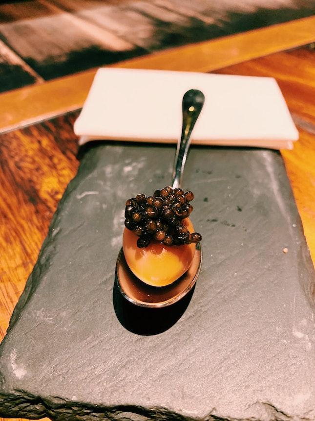Smoked Quail Egg And Caviar
