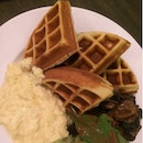 Waffles With Egg And Mushrooms