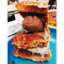 OUR OWN CREATION OF STACKO WAFFLES 😂 Macademia nut and Belgian chocolate icecream sandwiched btwn Belgian waffles drizzled w maple syrup and salted caramel sauce 😍 #burpple