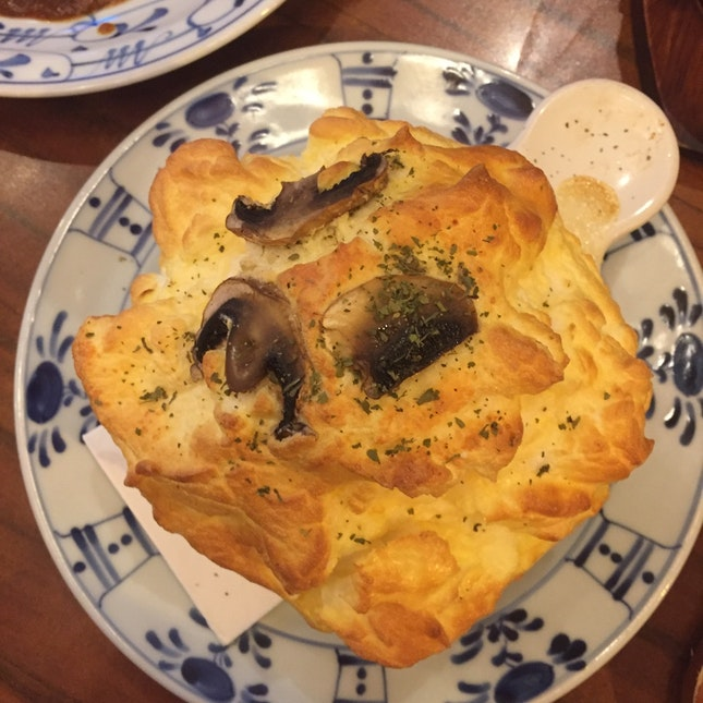 Fuwa Fuwa Hoshino Soufflé With Porcino Risotto ($16.80)