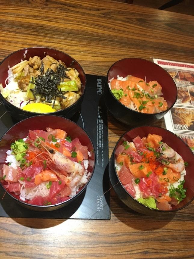 Sashimi, Salmon And Yakitori Chicken Don