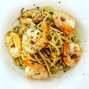 Prawn Aglio Olio  A delectable dish with fresh, large and chewy prawns and spaghetti that is being cooked to be firmed to the bite.