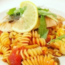Fusilli Salmone  Salmon, Mushroom, Thai Basil Sauce  Was completely deceived by the tomato based appearance.