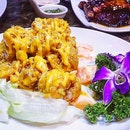 Indulge in the Golden Salad Prawn @crab_corner  Huge, fresh shrimps coated in a bright, radiant mix of saccherine sweet and slightly tart creamy sauce .