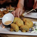 Magic Mushrooms $10+ (HIGHLY RECOMMENDED)  These battered mushrooms are indeed magical, especially with the provided dip.