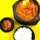 #throwback to budae jjigae or army stew with rice and kimchi at waker chicken!