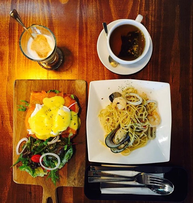 Smoked salmon egg Benedict , seafood aglio olio, salted caramel coffee and tea.