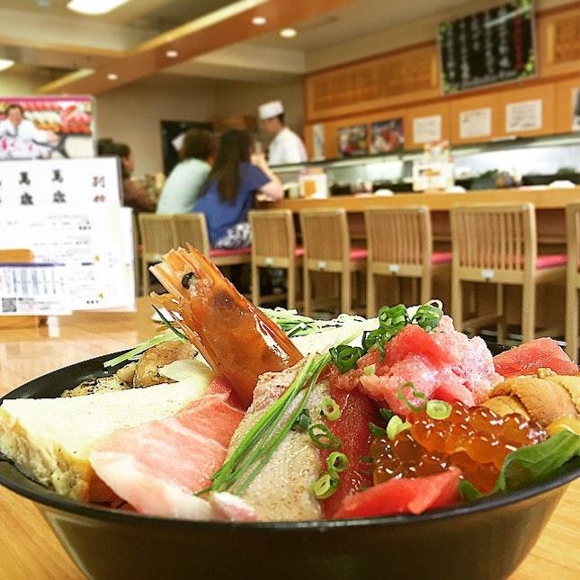 bowl of happiness with fatty tuna, unagi, uni and assorted sashimi at only 2800 Yen (S$31).