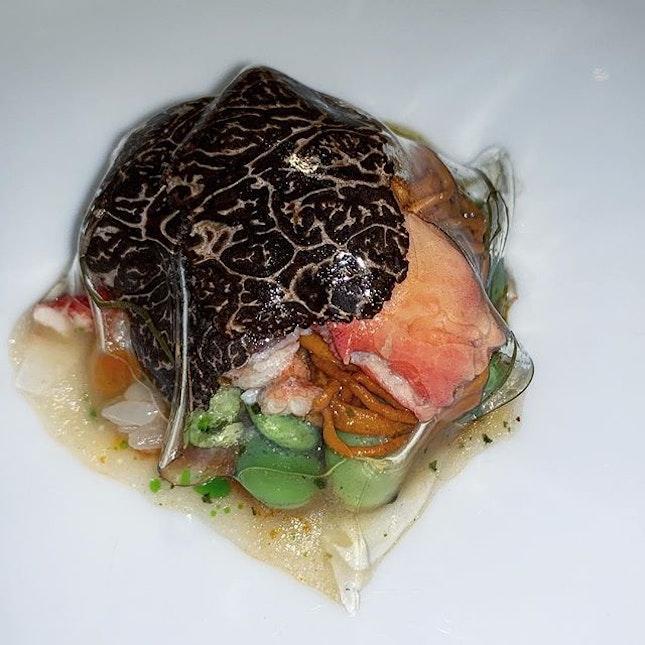 Alaskan king crab Braised in its own juices | black winter truffle | heirloom tomato passata | gellee made from tomato water | sweet basil  #amayzing_ttdi #burpple