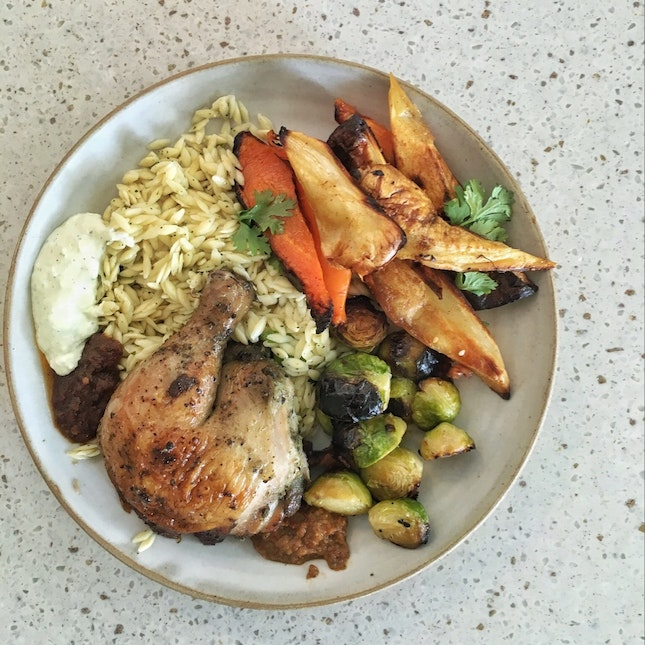 Roast Chicken, Risoni, Carrots & Parsnips, Brussels Sprouts ($17)