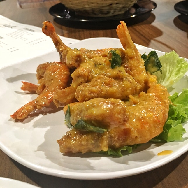 Salted Egg Prawns ($18 for Small, $26 for Large)