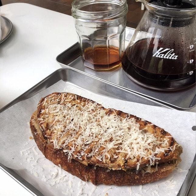 Almond + Parmesan Hot Pressed Sandwich ($8)