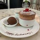 Raspberry Soufflé With Chocolate Sorbet
