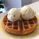 Double Scoop Ice Cream With Waffles