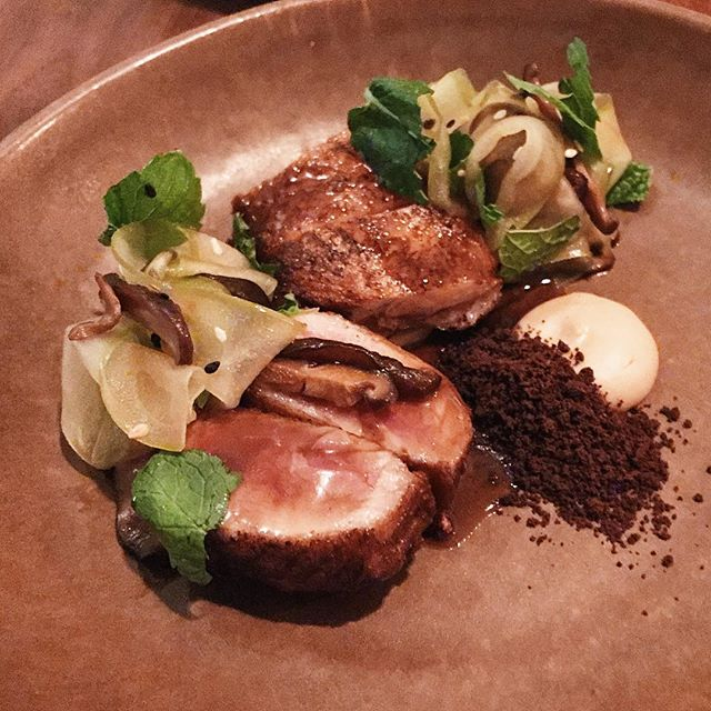 Roasted quail, chestnut, mushroom and mint.
