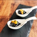 Squid and uni 'risotto' - not your typical risotto, squid is cut up into teeny bits and quickly sautéed with squid ink to form the 'risotto'.