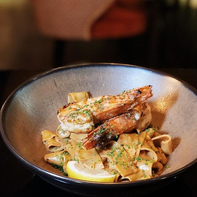Handmade pappardelle, crustacean sauce, pan roasted mussels and prawns.
