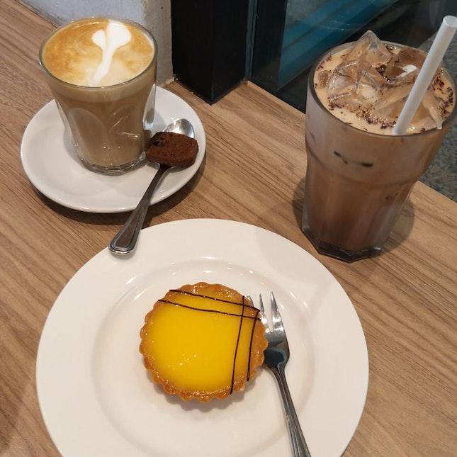 iced mochaccino ($6.50), latte ($5.30) & lemon tart ($6)