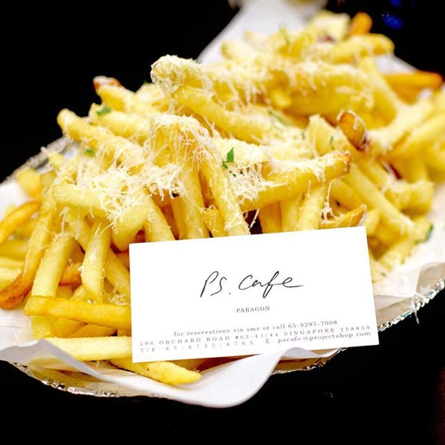 One HUGE serving of truffle shoestring fries [$15].