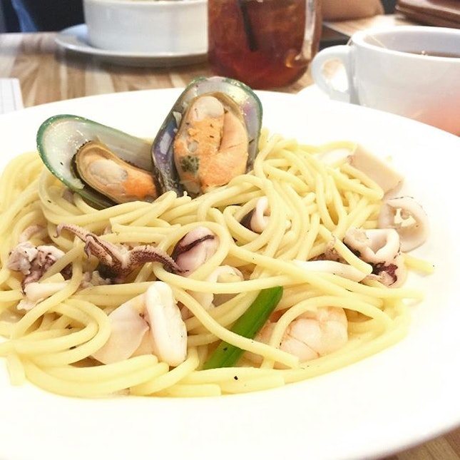 Seafood Agoli Olio🍝 The seafood was still okay.
