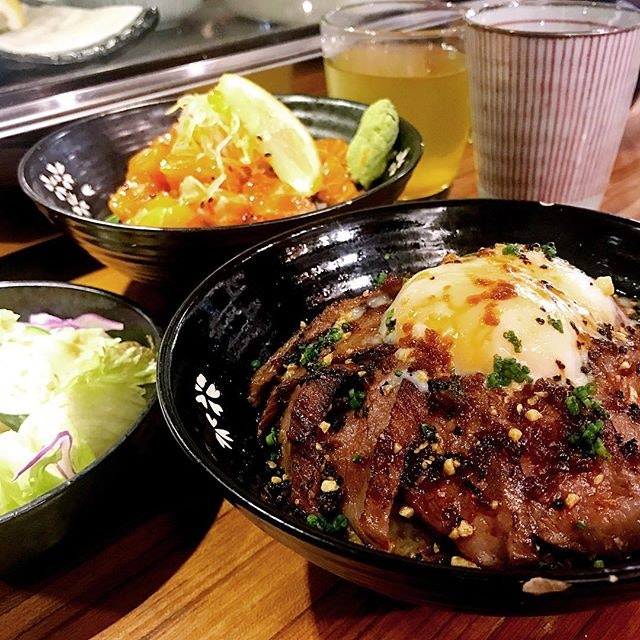 Wagyu Beef Don X Salmon & Roe - $23/$19 I love my brown rice w wagyu and onsen egg!