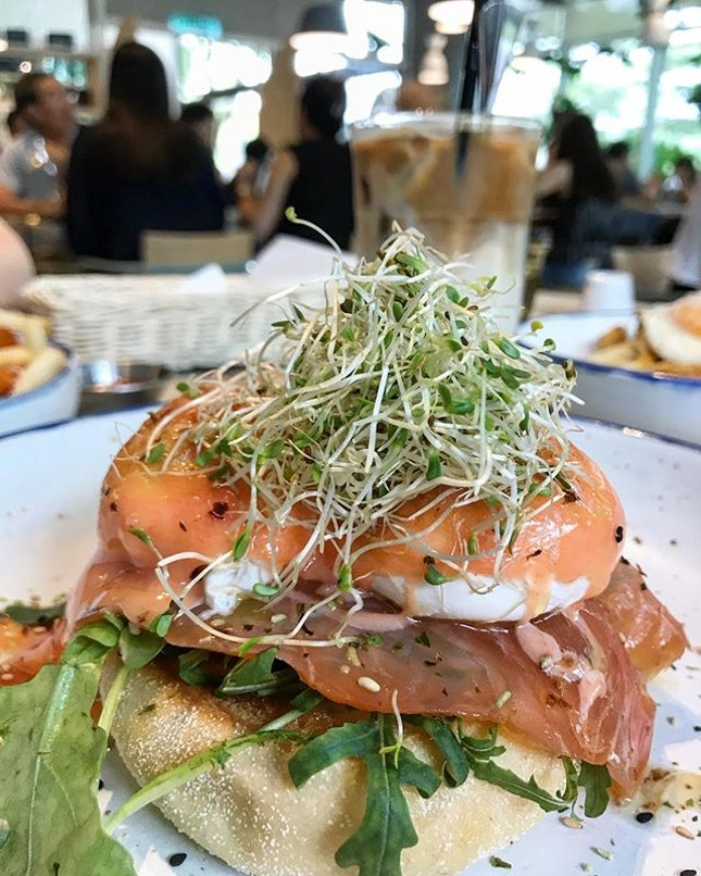 Salmon Mentaiko Egg Benedict - RM28 .