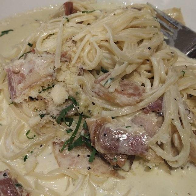 Home made tagliolini in carbonara sauce from Da Paolo.