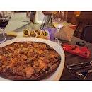 Tortilla based pizza with shredded pork, bacon, & chorizo 🍴😋❤️ #eighthavenuekl #dindins