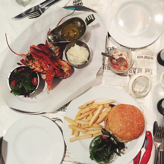 Duck Rillette, Chargrilled Whole Lobster & CW Portobello Burger.