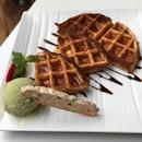 Macha ice cream waffle!
