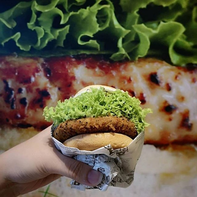 VEGANBURG : : Hawaiian Teriyaki burger accompanied with seaweed fries and alkaline water (: