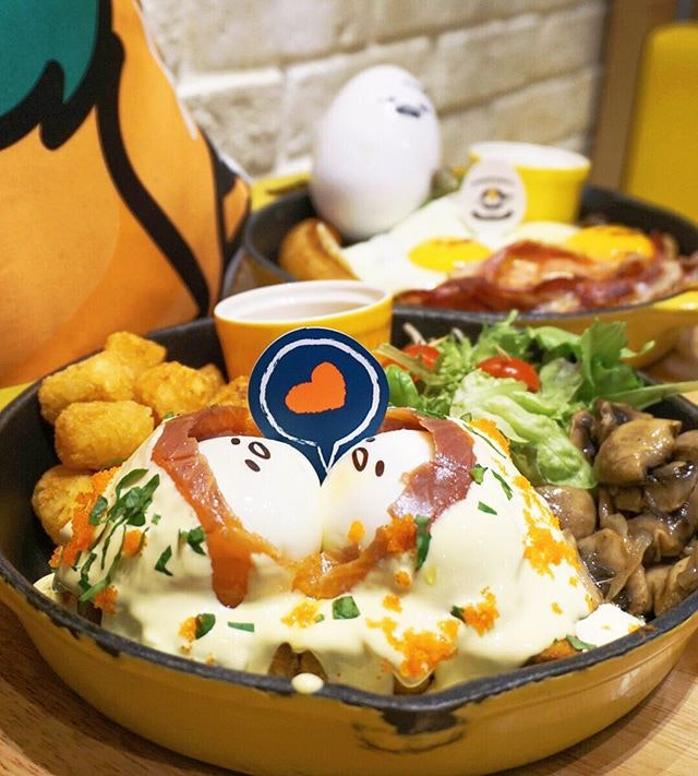"""🐣""""I'm Cold"""" Smoked Salmon Benedict ($26.90) Valentine's Gudetama poached eggs wrapped in smoked salmon smothered yuzu Hollandaise sauce - one of the best I've tried in awhile with regards to eggs Benedict dishes."""