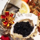 Glorious treat with oysters & caviar.