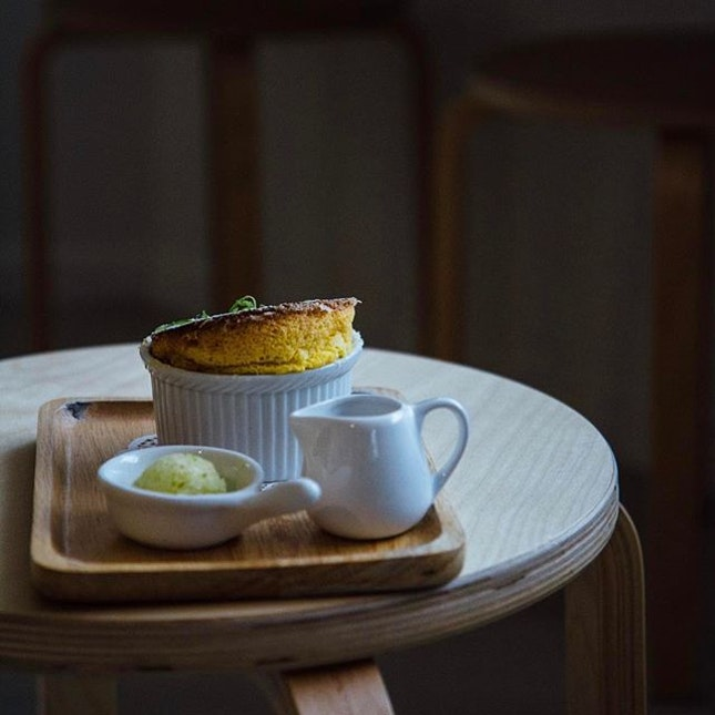 Soufflés are fluffy Soufflés are nice Soufflés are puffy Goes well with ice - In frame: mango soufflé with blueberry yogurt and honeydew/calamansi sorbet - #hungryhungrymonster #burpple #wildsheepchase #projectcafehoppingkl