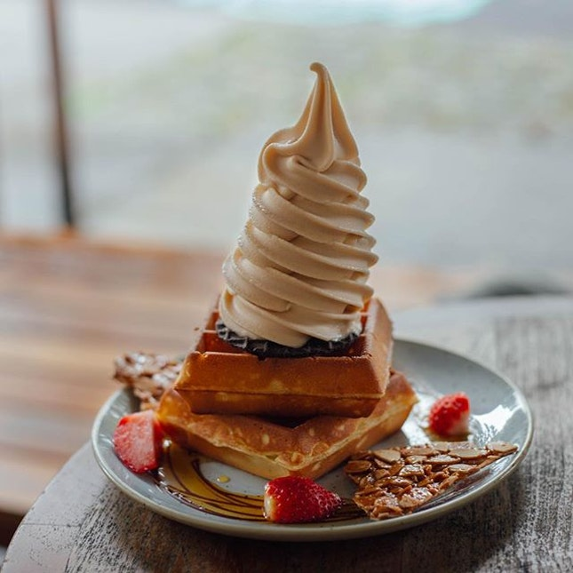 Earl grey soft serve on double waffle - The fragrance of the earl grey tea is unmistakable.
