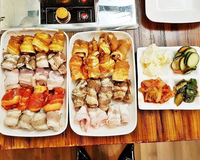 Assorted Marinated Pork Belly x 8 + Sides (SGD $30 per pax buffet) @ Korean Fusion BBQ.