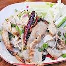 Nam Tok Kor Moo Yang / Grilled Pork Neck Salad (SGD $13) @ Little Elephant Thai Bistro.