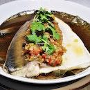 Steamed Pomfret (SGD $13.80) @ NUDE Seafood.