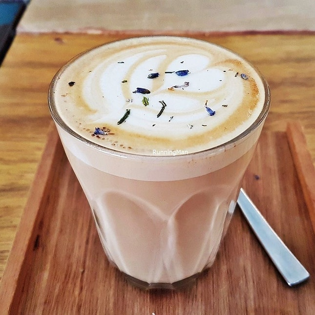 Lavender Latte (SGD $5.50) @ The Bravery Cafe.