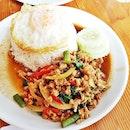 Pad Kra Pao / Basil Pork Rice (SGD $6) @ Nangfa Thai Kitchen.