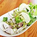 Pla Muk Neung Manao / Squid With Thai Lemon Sauce (SGD $10) @ Nangfa Thai Kitchen.