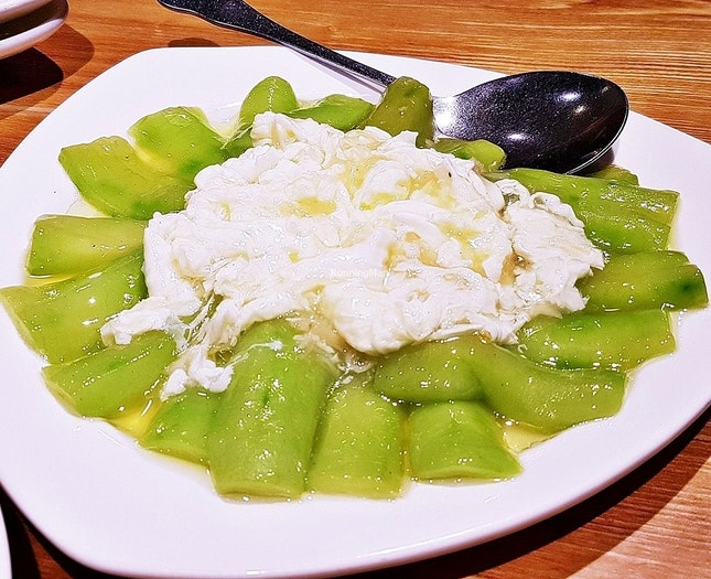 Braised Luffa Gourd With Poached Egg White In Conpoy Sauce (SGD $17) @ Joyden Canton Kitchen.