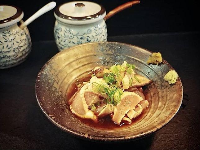 Toriwasa Shoyu $14 - Sashimi Chicken with Shoyu Wasabi.