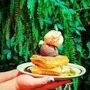 Signature Creamier Waffle topped with Sea Salt Gula Melaka and Plain Ole Chocolate.