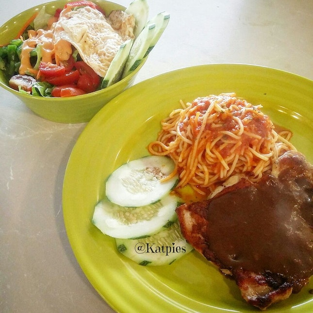 Chicken Chop Spaghetti and Egg Salad.